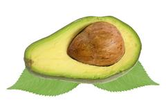 Fresh avocado over green leaves isolated on white Stock Photos