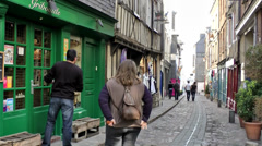 Europe France Normandy fishing village of Honfleur 028 a store in an old alley Stock Footage