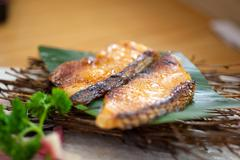 japanese style teppanyaki roasted cod fish - stock photo