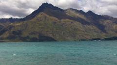 Landscape of lake Wakatipu, South Island, New Zealand Stock Footage