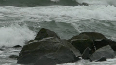Angry storm waves on Atlantic Ocean coast - stock footage