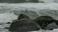 Angry storm waves on Atlantic Ocean coast Stock Footage