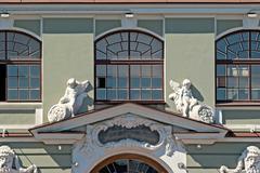 facade with sculptures. - stock photo