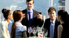 Team Share Brokers News Success Rooftop Restaurant Stock Footage
