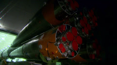 Space rocket taken from the hangar to the launch into space Stock Footage