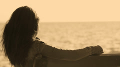 Woman Watching Seascape And Thinking. Stock Footage