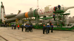 Experts inspect space rocket before launch - stock footage