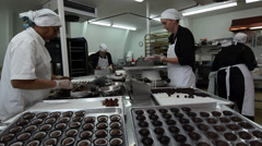 Handmade Chocolate Factory Workers Stock Footage