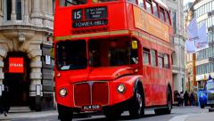 Red London Bus & Taxi Stock Footage
