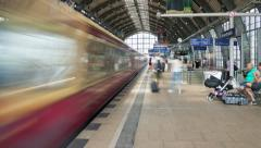 Trains arriving and departing at the Alexanderplatz railway station Stock Footage