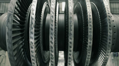 Frontal shot of balancing steam turbine Stock Footage