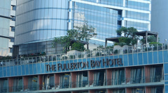 Singapore Marina Bay The Fullerton Bay Hotel Stock Footage