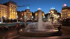 Beautiful fountain at night in Kiev Stock Footage