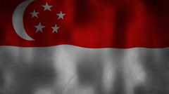 Singapore flag waving HD Stock Footage