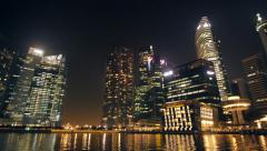 Stock Video Footage of Nighttime Singapore (ferryview) 1