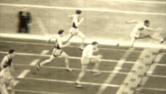 Vintage 1930s Track Field High Hurdles - stock footage