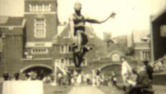 Vintage 1930s Track Field Broad Jump Stock Footage