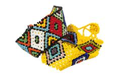 two zulu beadwork bracelets in bright colors - stock photo