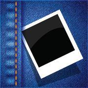 Stock Illustration of frame on a blue jeans background