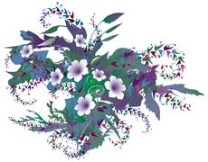 delicate purple floral - stock illustration