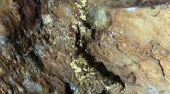 Gold ore in quartz Stock Footage
