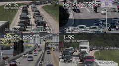 4K Quad Screen Traffic Cameras 4160 Stock Footage