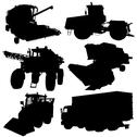 Stock Illustration of agricultural vehicles silhouettes set. vector illustration.