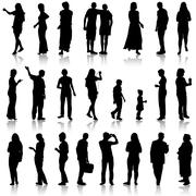 black silhouettes of beautiful mans and womans on white background. vector il - stock illustration