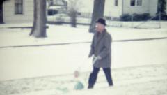 Vintage 1950s Kid in Stroller Winter Stock Footage
