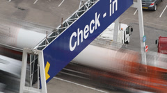 Lorries and Vehicles, Check in at ferry port Stock Footage