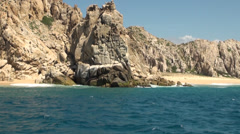 Stock Video Footage of Mexico - Cabo San Lucas - Rocks and beaches - El Arco de Cabo San Lucas  2
