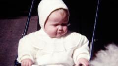 Vintage 1950s Child in Stroller Stock Footage