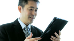 Male Asian Chinese Stock Broker Tablet Close Up - stock footage