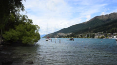 Queenstown Lake and Cityscape, New Zealand Stock Footage