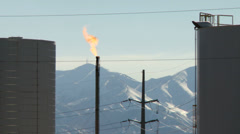 Oil refinery gas flare Stock Footage