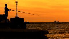 Pescador sin pesca - stock footage