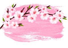 Stock Illustration of pink paint sakura branch banner. vector.