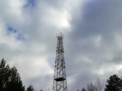 Iron tower on a background of clouds. Time Lapse. 4x3 Stock Footage