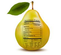 Pear with nutrition facts label. concept of healthy food. vector. Stock Illustration