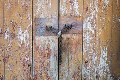 lock on a wooden door - stock photo