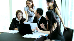 Team Asian Chinese Financial Consultants Conference Room Stock Footage