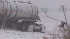 Car accident /crash in winter snow storm Stock Footage