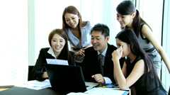 Group Meeting Young Ethnic Advertising Managers Stock Footage