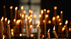 Candles at candlestick - stock footage