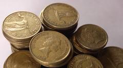 NZ money dollar coins. 1080/25P Stock Footage