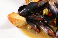 Stock Photo of mussels tuscan with crispy ciabatta