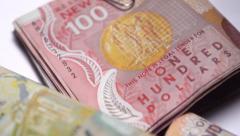 NZ money dollar notes bills coins. 1080/25P Stock Footage