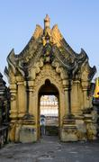 burmese sculpture door, myanmar - stock photo