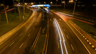 Stock Video Footage of City Light Trails Pan Left