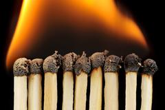 Row of matches Stock Photos